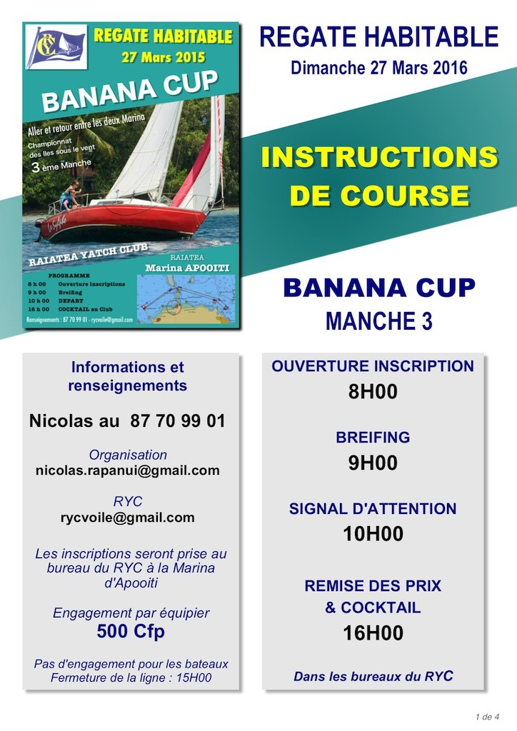 1 - IC Banana Cup - Avis de course